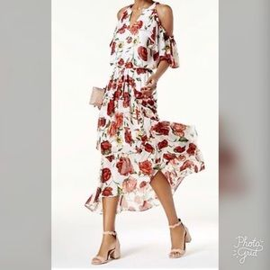 INC Cold-Shoulder Rose Print Dress, ChicEwe